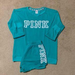 Pink brand shorts set